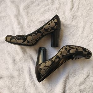 Coach classic penny loafer brown & black work heel